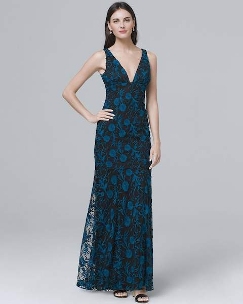 Whbm Embroidered V-Neck Gown