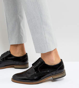 Asos Design Wide Fit Brogue Shoes In Black Polish Leather
