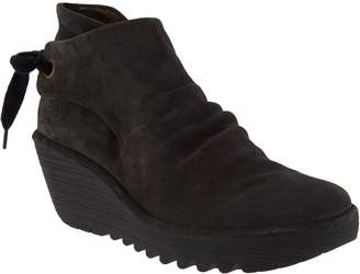 Fly London Suede Ruched Ankle Boots with Tie Detail - Yebi