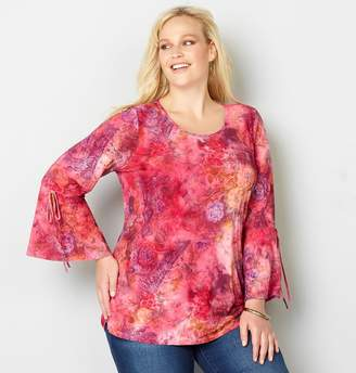 Avenue Abstract Floral Bell Sleeve Top
