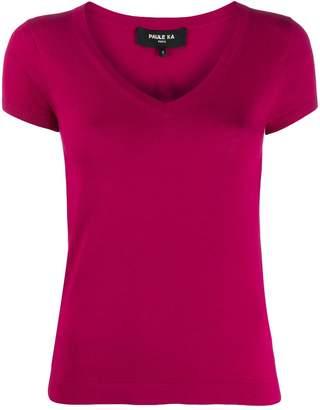 Paule Ka short-sleeved V-neck pullover