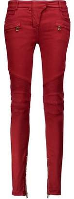 Balmain Moto-Style Cotton-Blend Twill Skinny Pants