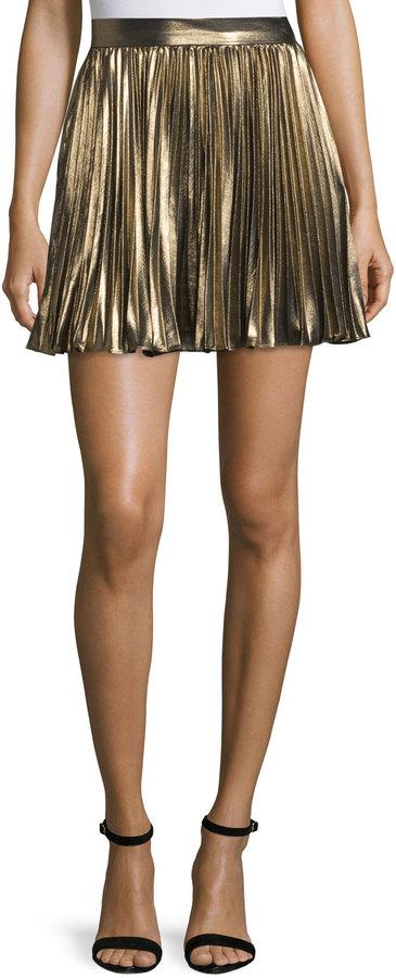 Haute HippieHaute Hippie Pleated Lamé; Mini Skirt, Gold