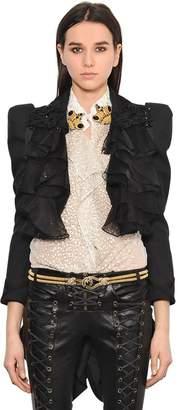 Ruffled Cropped Jacket W/ Coattails