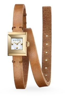 Gucci Gucci G-Frame Leather Wrap Strap Watch