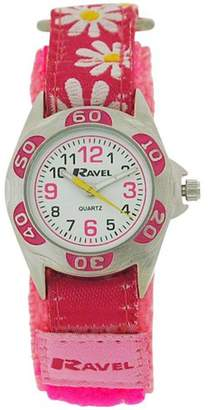 Ravel Festival Girls Dial Pink Flower Velcro Strap Watch R1507.33