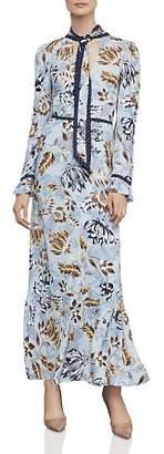 BCBGMAXAZRIA Floral-Print Tie-Neck Maxi Dress