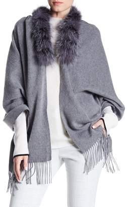 Surell Genuine Fox Fur Trim Fringe Shawl