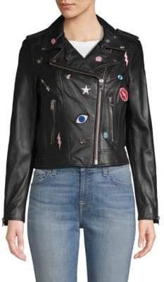 Donna Rock Embellished Leather Biker Jacket