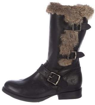 Frye Leather Fur-Trimmed Boots