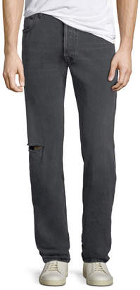 Balenciaga Men's Archetype Knee-Hole Straight-Leg Jeans