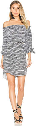 Seafolly Geo Print Off Shoulder Dress in Black & White $162 thestylecure.com