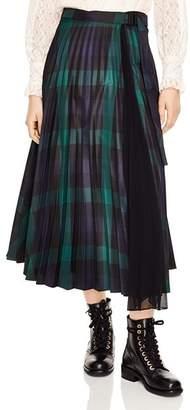 Sandro Sunshine Pleated Plaid Midi Skirt