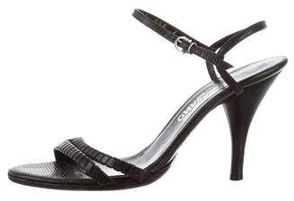 Salvatore Ferragamo Embossed Leather Ankle Strap Sandals