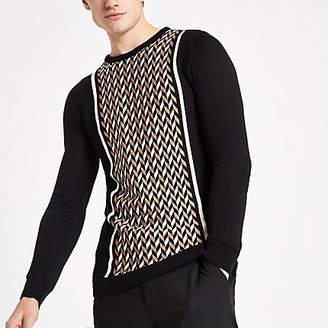 River Island Olly Murs black geo print slim fit sweater