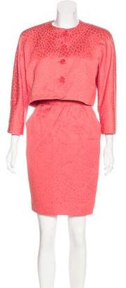 Halston Patterned Skirt Suit