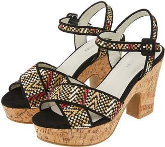 5f618d54c9d Monsoon India Interest Fabric Cork Platform Heels