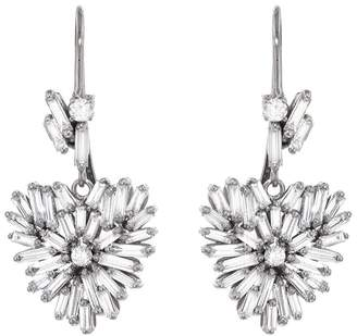 Suzanne Kalan White Diamond Baguette and Round Heart Drop Earrings - White Gold
