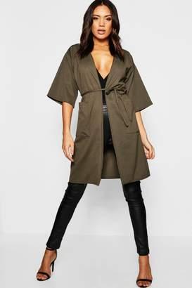 boohoo Kimono Sleeve Pocket Duster
