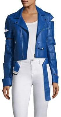 Cut-Out Leather Jacket