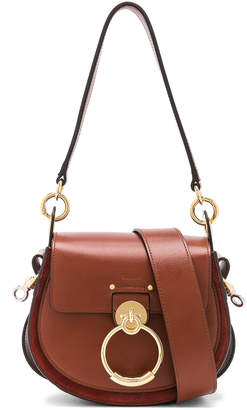 Chloé Small Tess Shiny Calfskin Shoulder Bag in Sepia Brown | FWRD