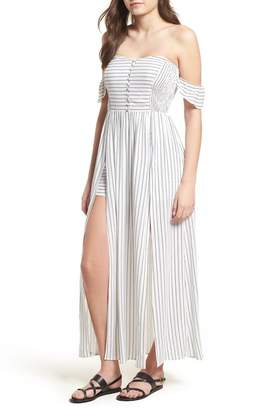 Lush Button Front Off-the-Shoulder Maxi Romper