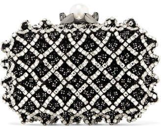 Jimmy Choo Cloud Embellished Satin Clutch - Black