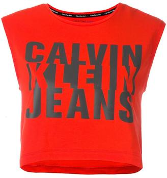 Calvin Klein Jeans logo print cropped top $51.26 thestylecure.com