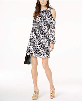 MICHAEL Michael Kors Printed Ruffle Cold-Shoulder Dress