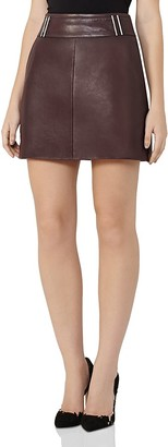 REISS Vale Leather Mini Skirt $465 thestylecure.com