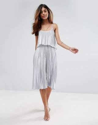 Oh My Love Pleated 2 In 1 Midi Dress