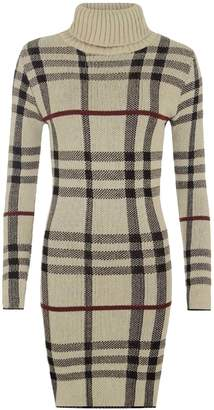 RIDDLED WITH STYLE Polo Neck Check Tartan Bodycon Midi Dress Womens Ladies Long Sleeve Top Jumper#( Long Sleeve Polo Neck Check Tartan Bodycon Jumper#US 10-12#Womens)