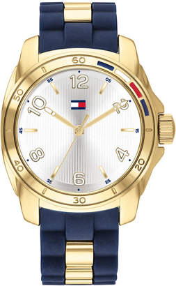 Tommy Hilfiger Women Navy Rubber & Gold-Tone Bracelet Watch 36mm