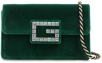 Gucci Broadway Crystal G Velvet Shoulder Bag