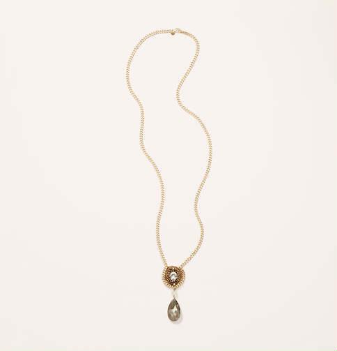 LOFT Long Crochet Pendant Necklace