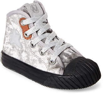 Naturino Toddler/Kids Girls) Grey & Black Crushed Velvet Star Sneakers