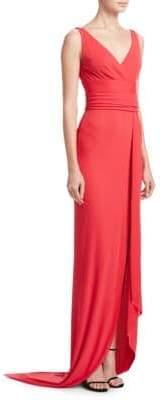 Naeem Khan V-Neck Wrap Gown