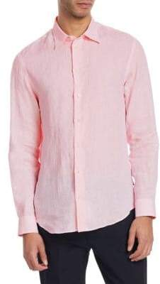 Emporio Armani Point Collar Linen Button-Down Shirt
