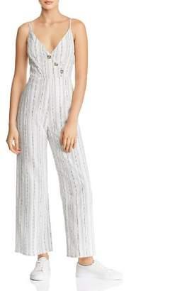 En Creme Striped Button-Detail Jumpsuit
