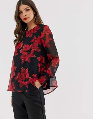 Y.A.S floral sheer sleeve blouse