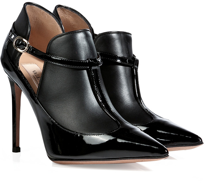 Valentino Patent Leather Ankle Boots in Black