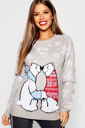 boohoo Petite Bear Hug Christmas Jumper