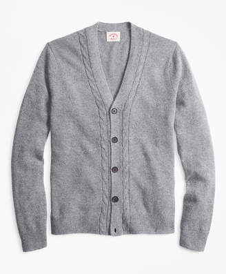 Brooks Brothers Alpaca-Blend Cable V-Neck Cardigan