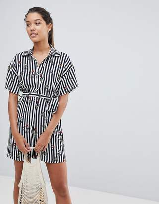 PrettyLittleThing Stripe Shirt Dress
