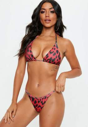 Missguided Red Animal Tie Back Triangle Bikini Top