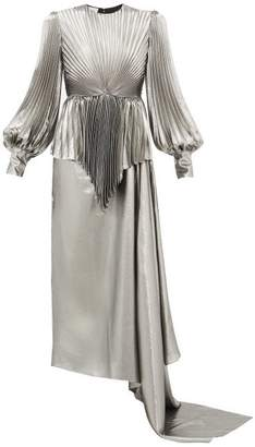 Gucci Balloon Sleeve Pleated Silk Blend Lame Gown - Womens - Silver