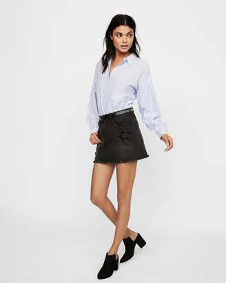 Express Destroyed Denim Mini Skirt