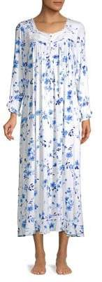 Eileen West Floral Long-Sleeve Night Gown