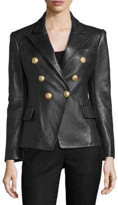 Balmain Classic Leather Double-Breasted Blazer, Black