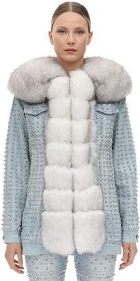 Philipp Plein Embellished Denim Jacket W/ Fur